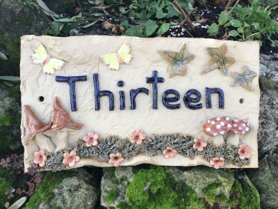 House Name Plaque//PERSONALISED HOUSE SIGN//Pixie and pixie house design//CERAMIC 13 x 8 inches
